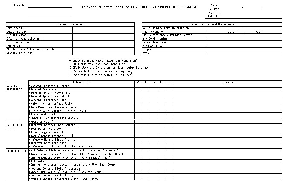Equipment Checklist Mobile Equipment Checklist Ums Operator Pre